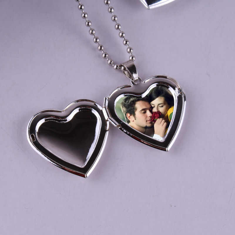 Hot Sale Valentine Lover Gift Photo Frames Can Open Locket Necklaces Heart Pendant Necklace Jewelry for Women Girlfriend Gift