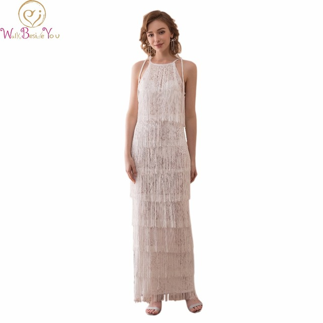 Walk Beside You Ivory Prom Dresses Long Evening Party Gown Graduation  Sleeveless Spaghetti Straps Lace with Tassel vestido de 3fce90e31bfd