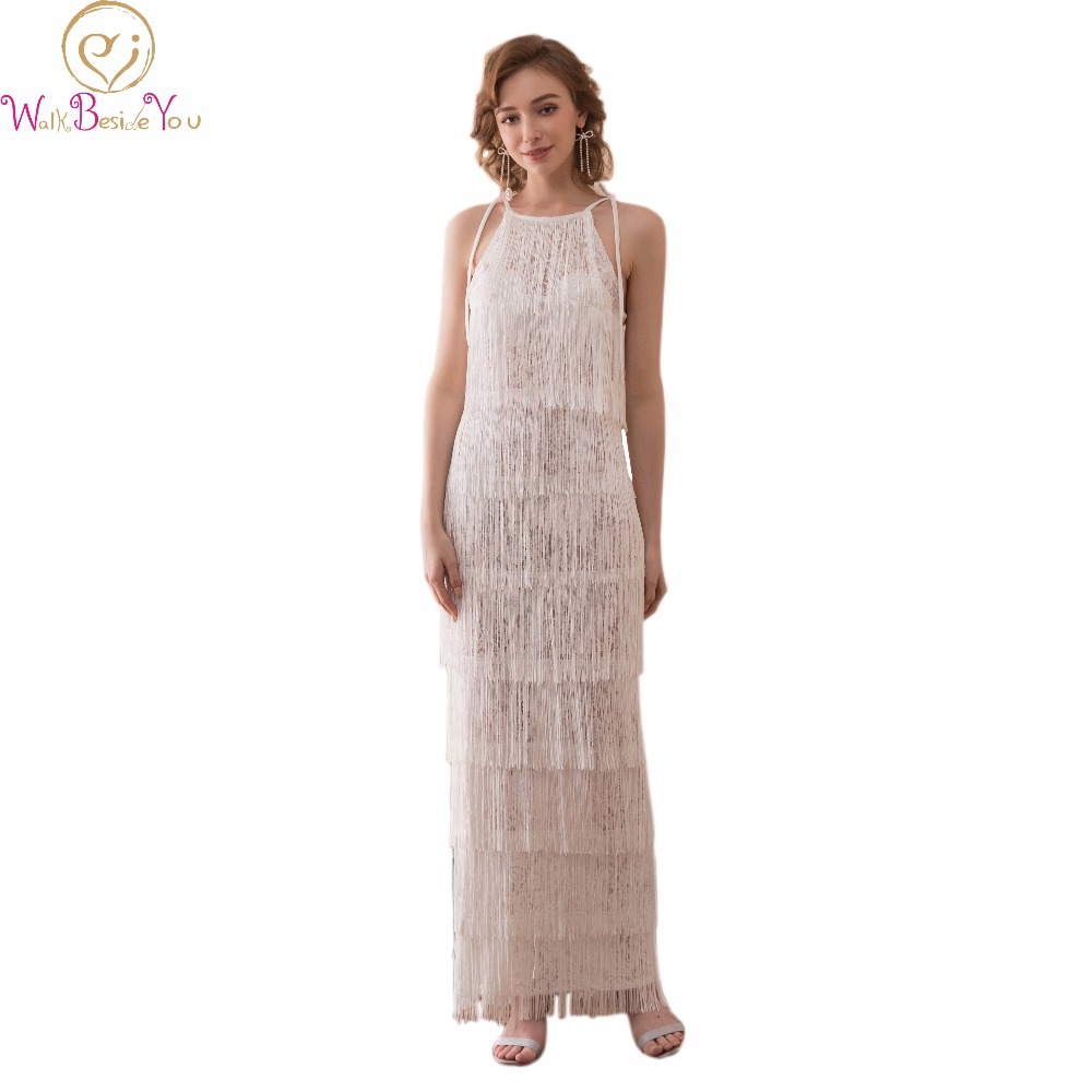 Walk Beside You Ivory   Prom     Dresses   Long Evening Party Gown Graduation Sleeveless Spaghetti Straps Lace with Tassel vestido de