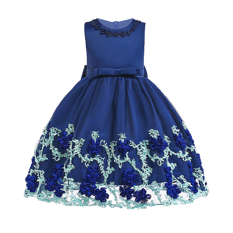 2018 Summer Kids Baby Girl Flower Dresses Children Girls Princess Ball Gown embroidery Tulle Party Formal Tutu Dress 3-10T