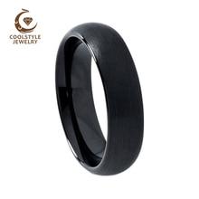 6mm Nero Tungsteno Anello di Cerimonia Nuziale anello di Fidanzamento Per Le Donne Degli Uomini A Cupola E Opaco Finito