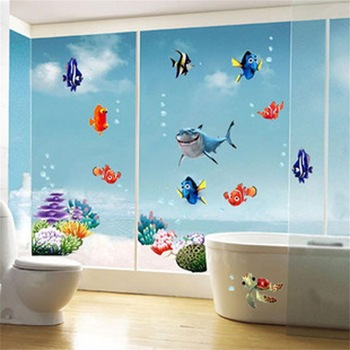 Wonderful Sea world colorful fish animals vinyl wall art window bathroom-Free Shipping Bathroom Stickers For Kids Rooms