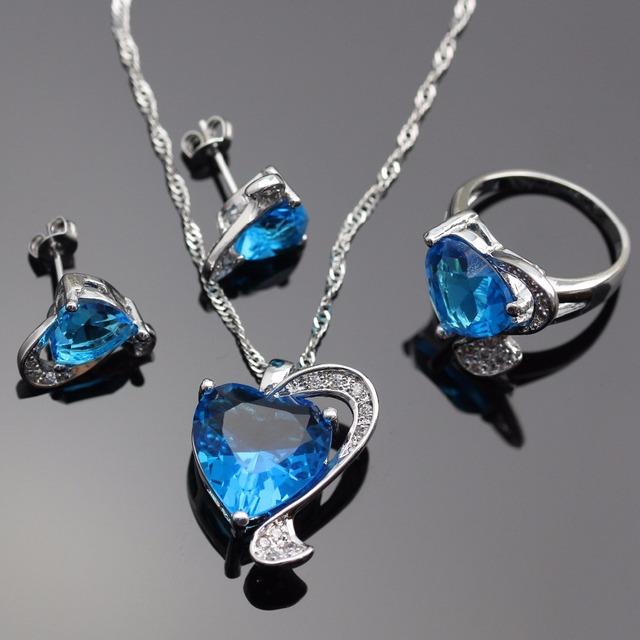 Lan Moda 925 Plata de La Joyería AAA Circón Pendiente Colgante, Collar de Color Azul 925 Anillo de Plata Para La Boda Envío Gratis