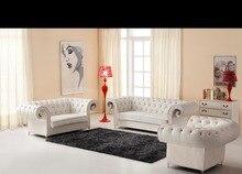 2015 Chesterfield sofá de cuero de diseño #