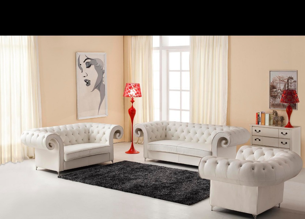 2015 Chesterfield sofa kulit Desain