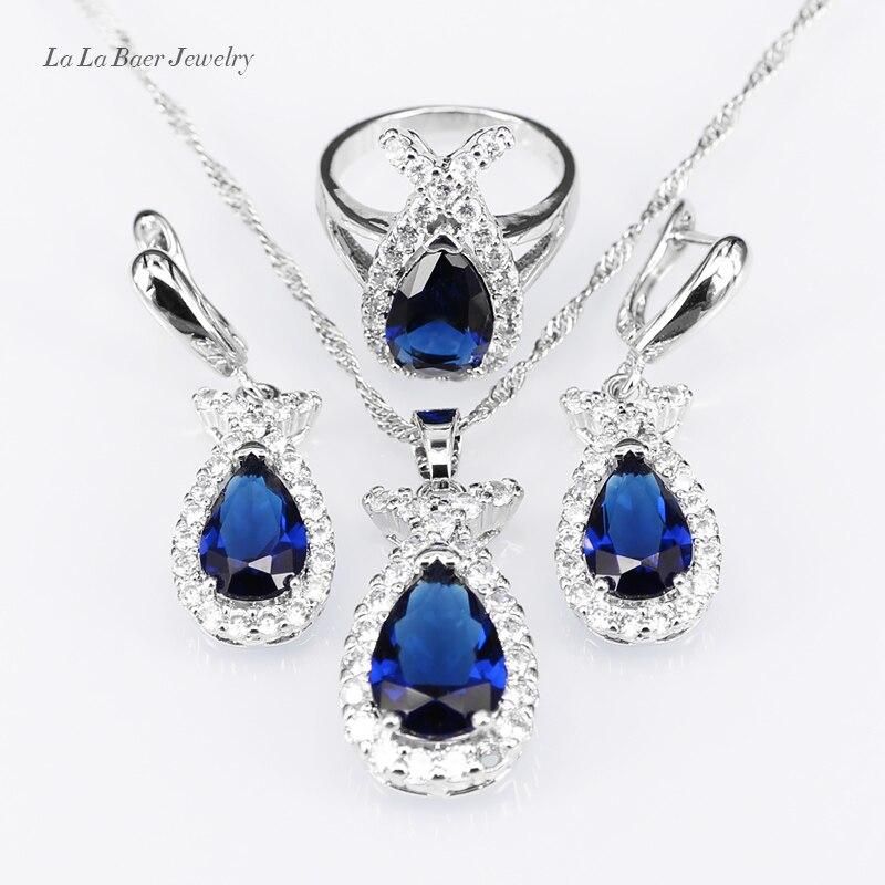 8074ce4be4d7 ⊹L   B Foncé Bleu Rhniestone Blanc Zircon Ensembles de Bijoux ...
