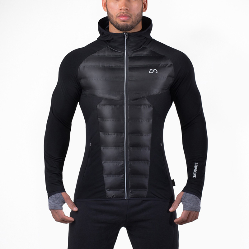 ФОТО Men Running Jacket Winter Hooded Gym Clothing Top Zip Sports Coat Fit Puffer Jackets