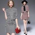 Outono Clássico Elegante Jacquard Dobby Figured Acima Do Joelho Mini Curto jaqueta Casaco E Saia Shorts Mulheres Set 2 pcs Terno Xl D421
