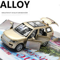 For Land Rover Range Rover Alloy Car Model Light Music Pull Back Toy Vehicles 6 Open Doors Transparent Roof Brand Auto Speelgoed