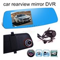 hot 5 inch screen car rear view mirror driving recorder high-definition dual lens electronic rearview DVR include rear camera