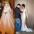 2017 Nuevo Diseño Elegante Del Cordón Atractivo de 2 de Dos Piezas Desmontable Falda Vestidos de Novia scoop tafetán Vestidos de Boda vestido de noiva