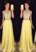 2 шт. бисером Длинные платья невесты длинные элегантные шикарное платье