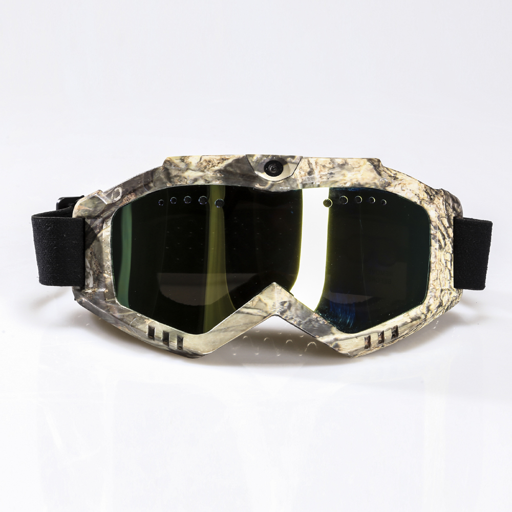 Ski-Sunglass Goggles with 1080P FHD Camera & Camouflage Frame & Black Double Anti-Fog Lens & Battery Built-in Without Nose Pad free shipping csg goggles 38 kinds of fashionable ski goggles the new fashion personality ski goggles double lens ski goggles