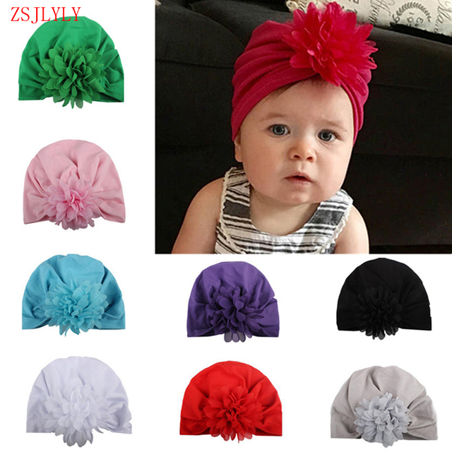 d7e2acb80d3 ZSJLYLY Soft Knot Flower Hat Bohemia Style Indian Chiffon Baby Hats for Baby  Girls Spring Autumn