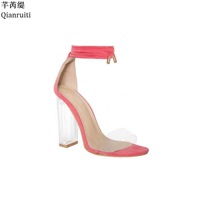 Qianruiti Pink Nude Faux Suede High Heels Women Sandals Transparent PVC Ankle  Strap Women Pumps Lace Up Clear Block Heels Shoes-in Women s Pumps from  Shoes ... 10806f4eca85
