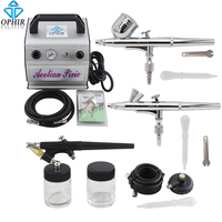 OPHIR Pro 3 Airbrush Guns with Air Compressor Kit for Model Hobby Body Tattoo Nail Art Paint Cake Airbrush _AC088+004A+071+073