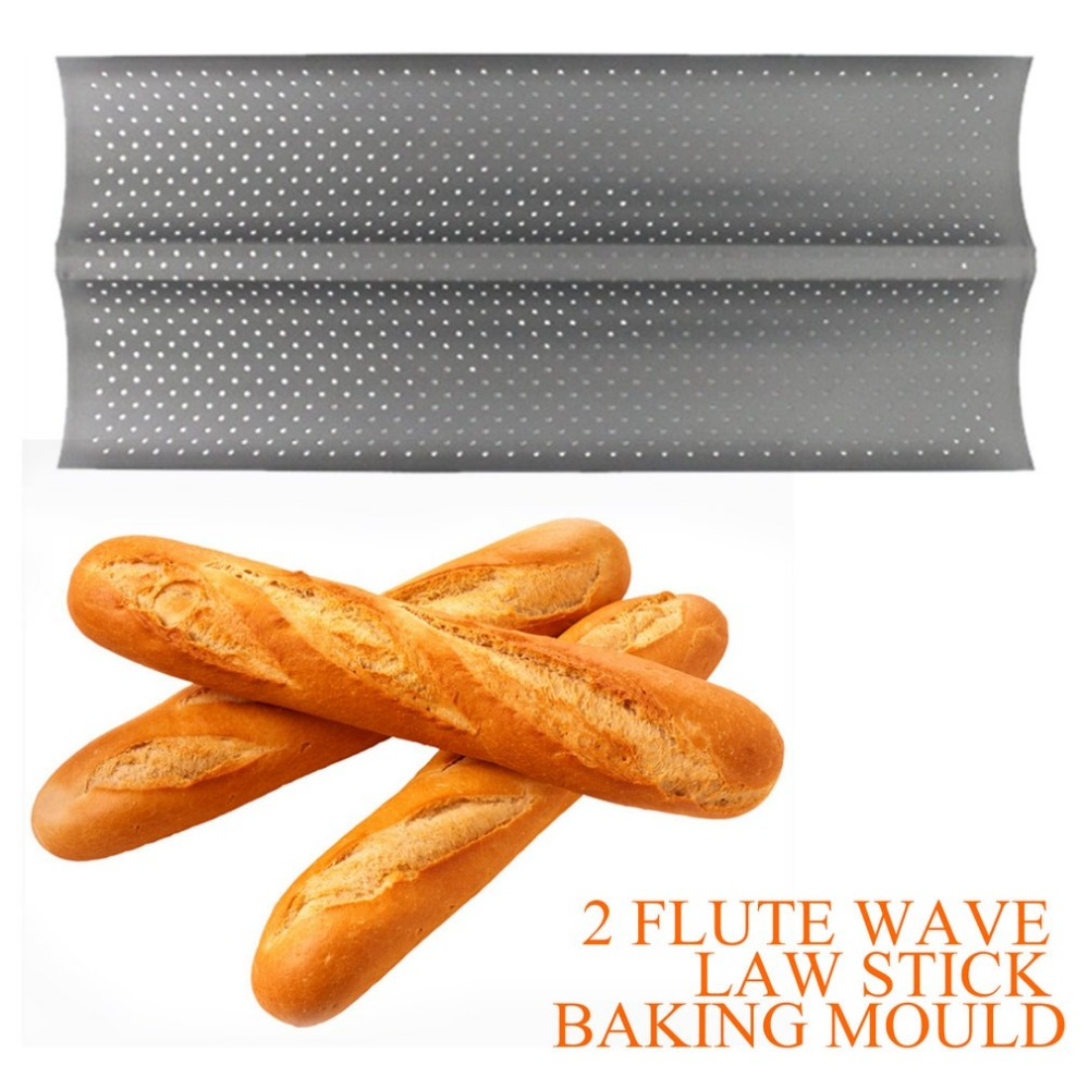 PREUP 2 Grooves Wave French Bread Baking Tray Carbon Steel Mold Non-stick Perforated Baking Tool For Baguette Bake Pan