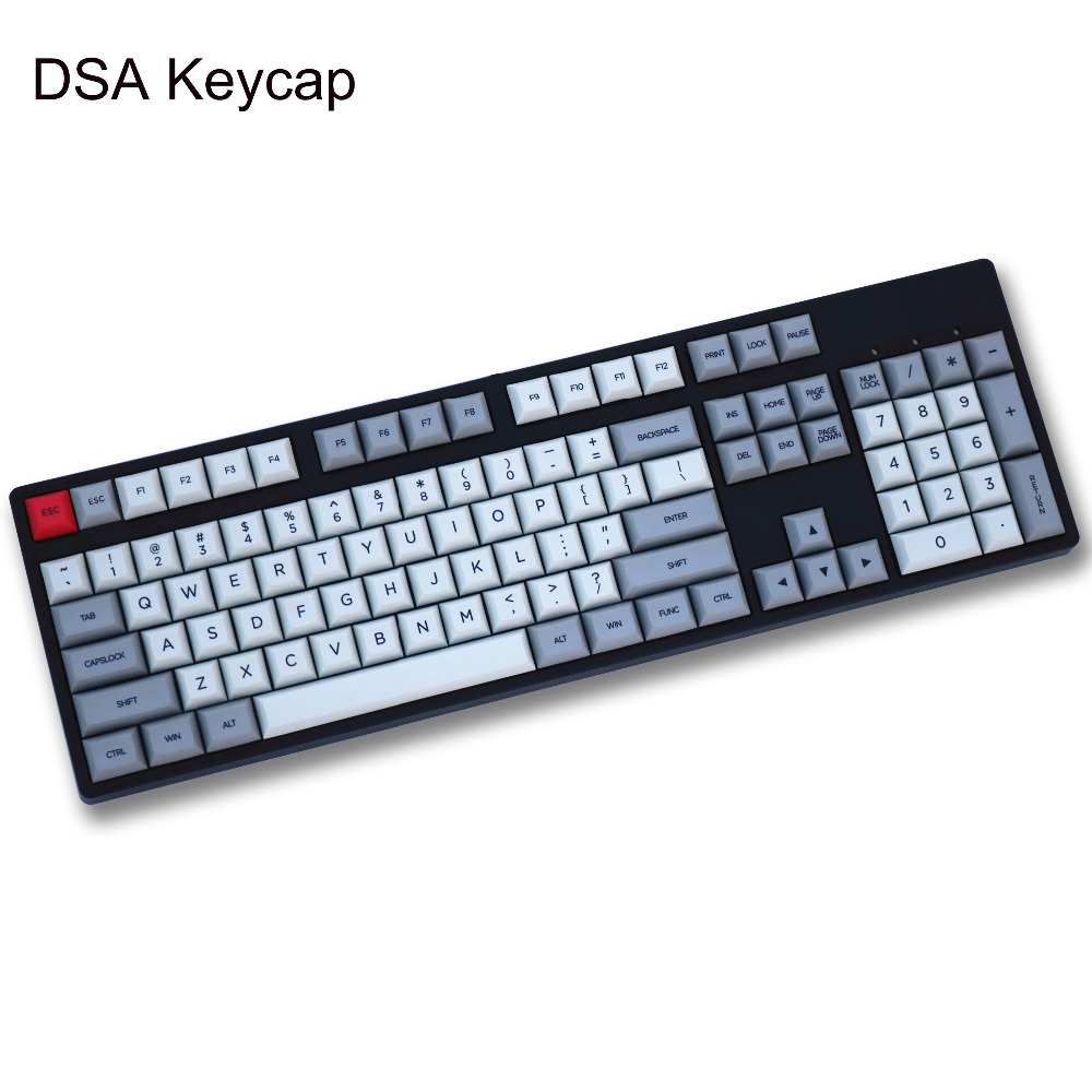 Gray and Light grey Mix DSA PBT 150 key dye sublimated Font print Cherry MX Switch mechanical keyboard Keycap Only sell keycaps