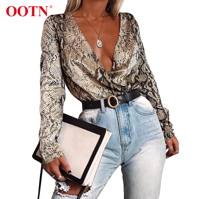 6dae2fa4f493 OOTN Vintage Silk Rompers Womens Jumpsuit Long Sleeve Snake Print Top Shirt  Ladies Deep V Neck