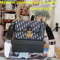 24X14CM brand designer embroidery canvas handbag 2019 new retro gold buckle square bag letter shoulder Messenger bag DO658