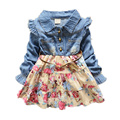 2015 Autumn baby dress baby girl clothes infant casual Denim stitching Lace dress lace flowers Princess dress