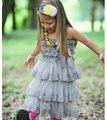 Gris de encaje, vestido Con Volados, plata de la muchacha de flor, vestido De Cumpleaños, estilo Vintage, niñas apoyo de la foto outfit