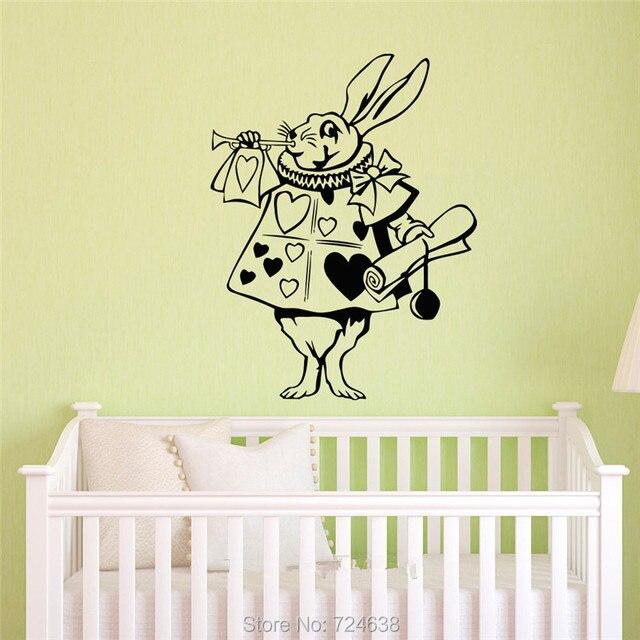 Rabbit Alice In Wonderland Silhouette Wall Art Sticker Decal Home ...