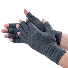 1double Unisex Men Women Therapy Compression Gloves Hand Arthritis Joint Pain Relief Health Care Half-finger Gloves fishsunday 1 pair magnetic therapy fingerless gloves arthritis pain relief heal joints braces supports health care tool 0718