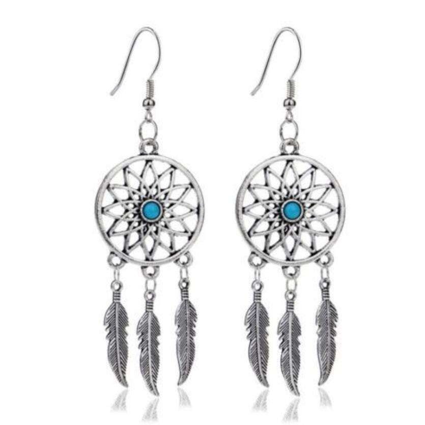 Design Silver Bijoux Dreamcatcher Drop Earrings For Women Retro Fashion Jewelry Dangle Earrings Statement Earrings Girls Gift in Drop Earrings from Jewelry Accessories