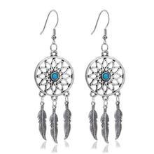 Design Silver Bijoux Dreamcatcher Drop Earrings For Women Retro Fashion Jewelry Dangle Earrings Statement Earrings Girls Gift
