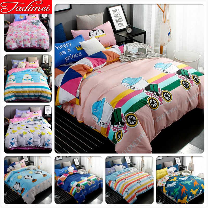 Panda Pattern Creative Quilt Comforter Duvet Cover 3 4 Pcs Bedding Set Kid Child Boy Soft Cotton Bed Linen Single Twin Full Size