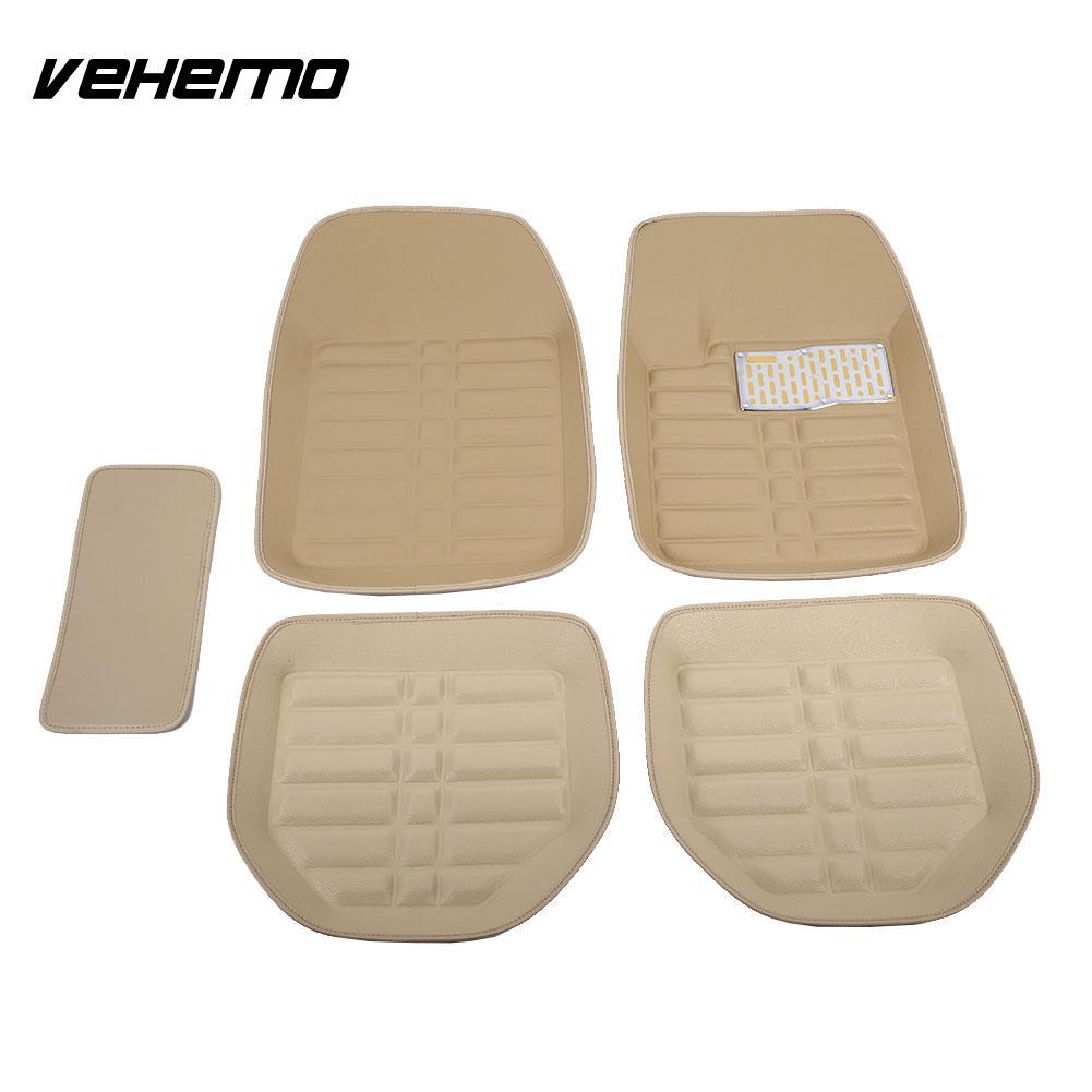 Vehemo 5 pcs Brun Pied Pad Auto Tapis Conducteur Étanche Tapis de Sol Camions Accessoires Universel FloorLiner