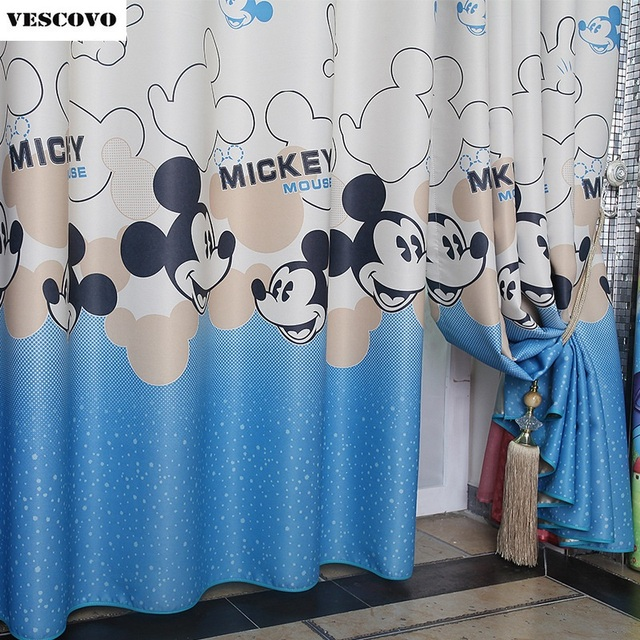 Blue Mickey Mouse Pattern Thickened Bedroom Children Curtain Cartoon ...
