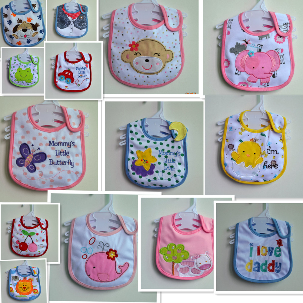 Animals  Baby Bibs Cute Cartoon Pattern Toddler Baby Waterproof Saliva Towel Cotton Fit 0-3 Years Old Infant Burp Cloths Feeding(China)