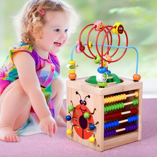 WYNLZQ garçons filles jouets en bois cercles en bois perle fil labyrinthe rouleau éducatif bois Puzzles enfant jouet cadeaux de noël enfants nouveau