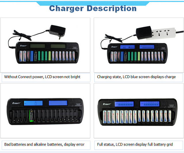 With LCD Screen OEM Factory Certificated 16 Bay/Slot Smart Battery Charger For AA AAA NiCd NiHM Rechargeable Cells Batteries
