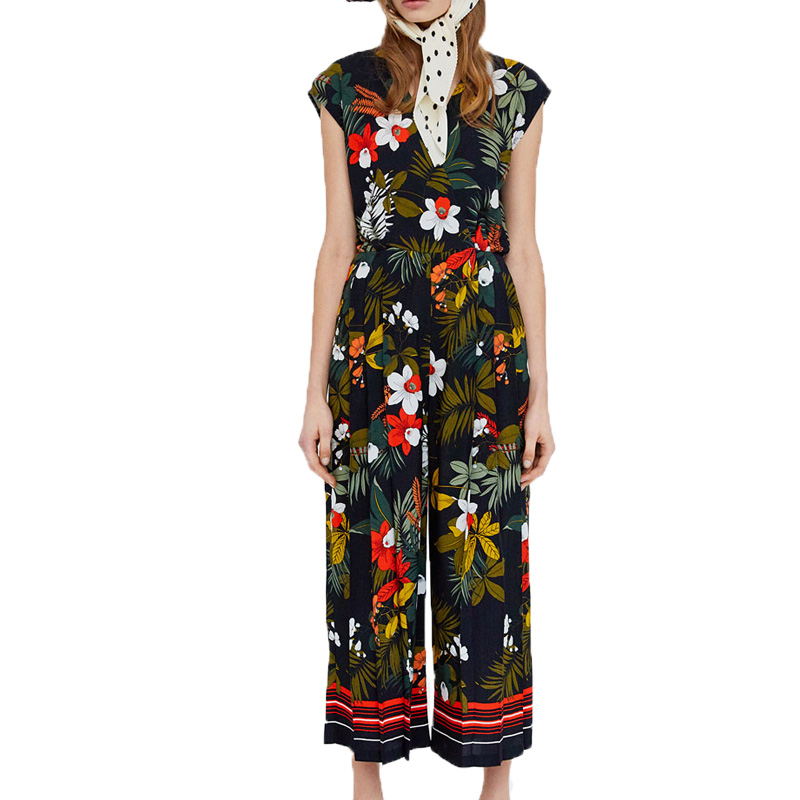 Women clothes 2018 summer casual printing rompers womens jumpsuit black wide leg jumpsuit women