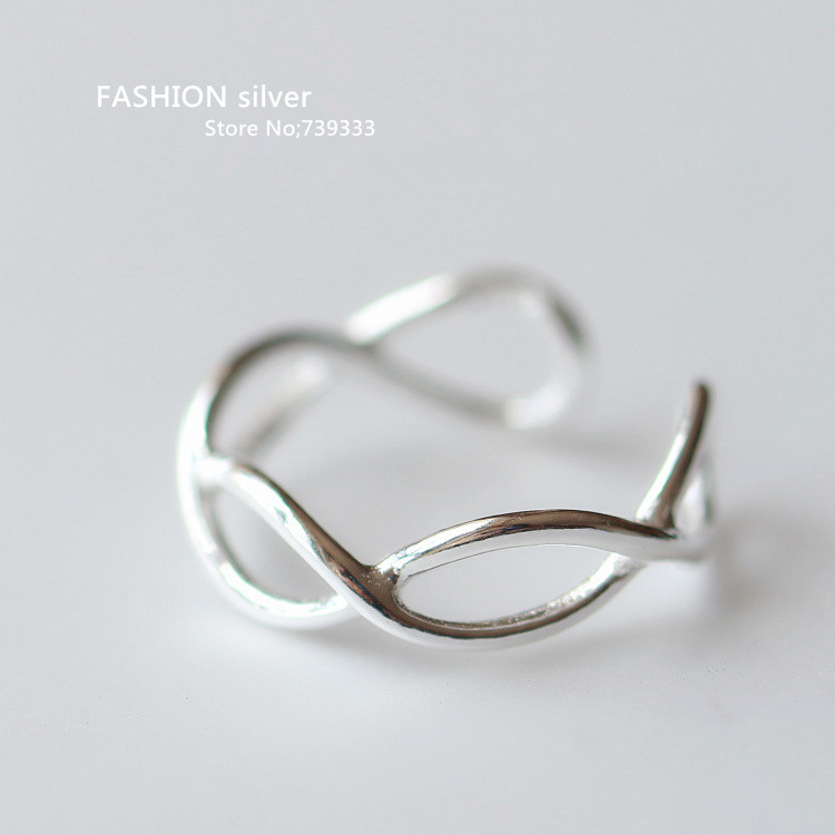 Fashion 925 sterling silver ring hollow plain silver rings for