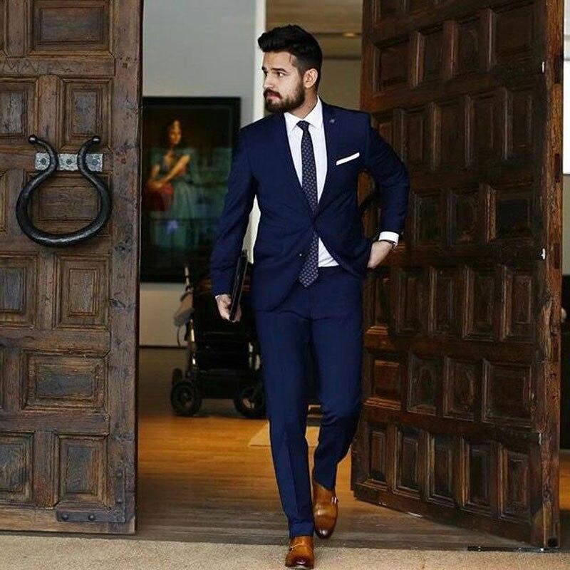 Custom Made Navy Blue Business Men Suits For Wedding Man Blazer Man Jacket Groom Tuxedos 2Piece Coat+Pants Slim Costume Homme