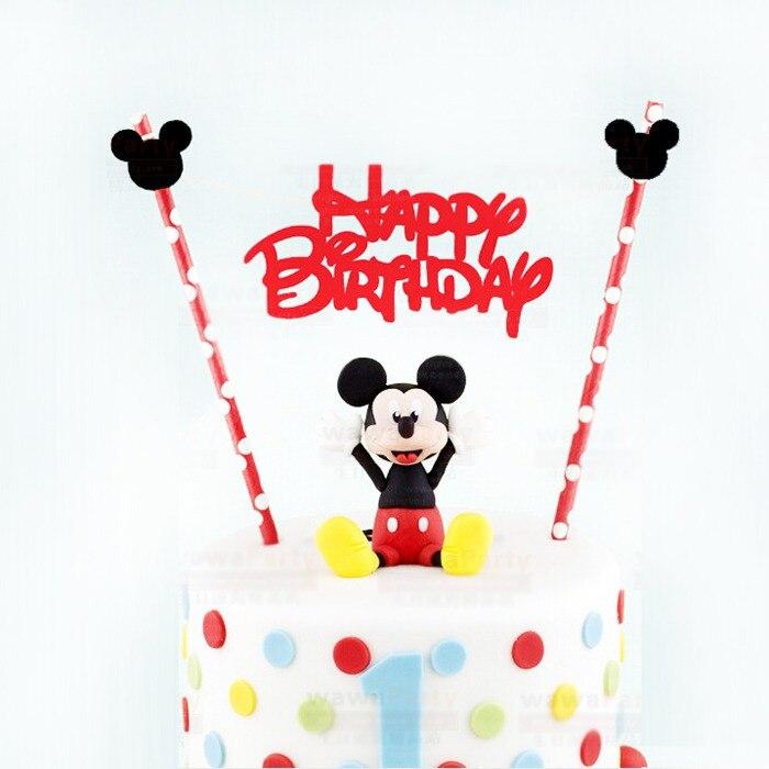 acf39d687a3fb ميكي Bithday كعكة توبر ، ماوس موضوع عيد ميلاد سعيد العلم مع ورقة القش ،  الرجل العنكبوت ، التوابع كعكة توبر راية