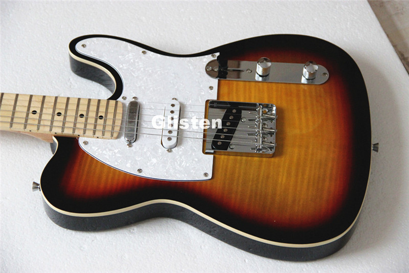 TL electric guitar with tele maple top, custom guitarra, three saddle bridge free shipping semi hollow body aaaaa quilted maple top gold hardware jazz es 335 345 electric guitar guitarra all color accept