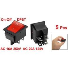 KSOL 5 x Красный Подсветкой Light On/Off DPST Лодка Rocker Switch 16A/250 В 20A/125 В AC