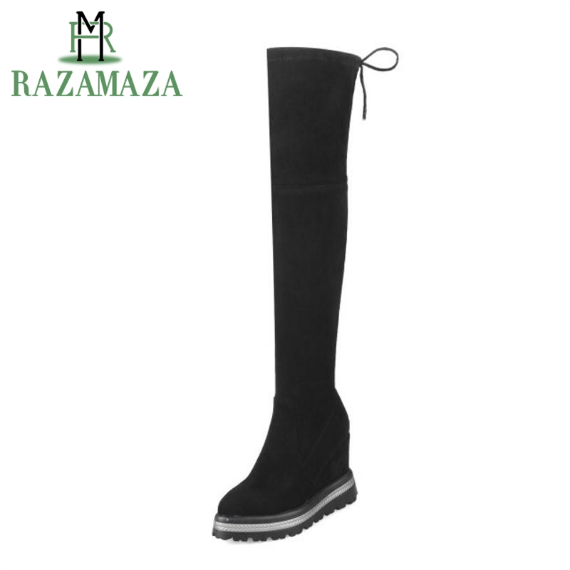 RAZAMAZA Platform Boots Women Winter Shoes Wedges Lace Up Over Knee Boots Fashion Sexy Long Boots Ladies Footwear Size 33 42