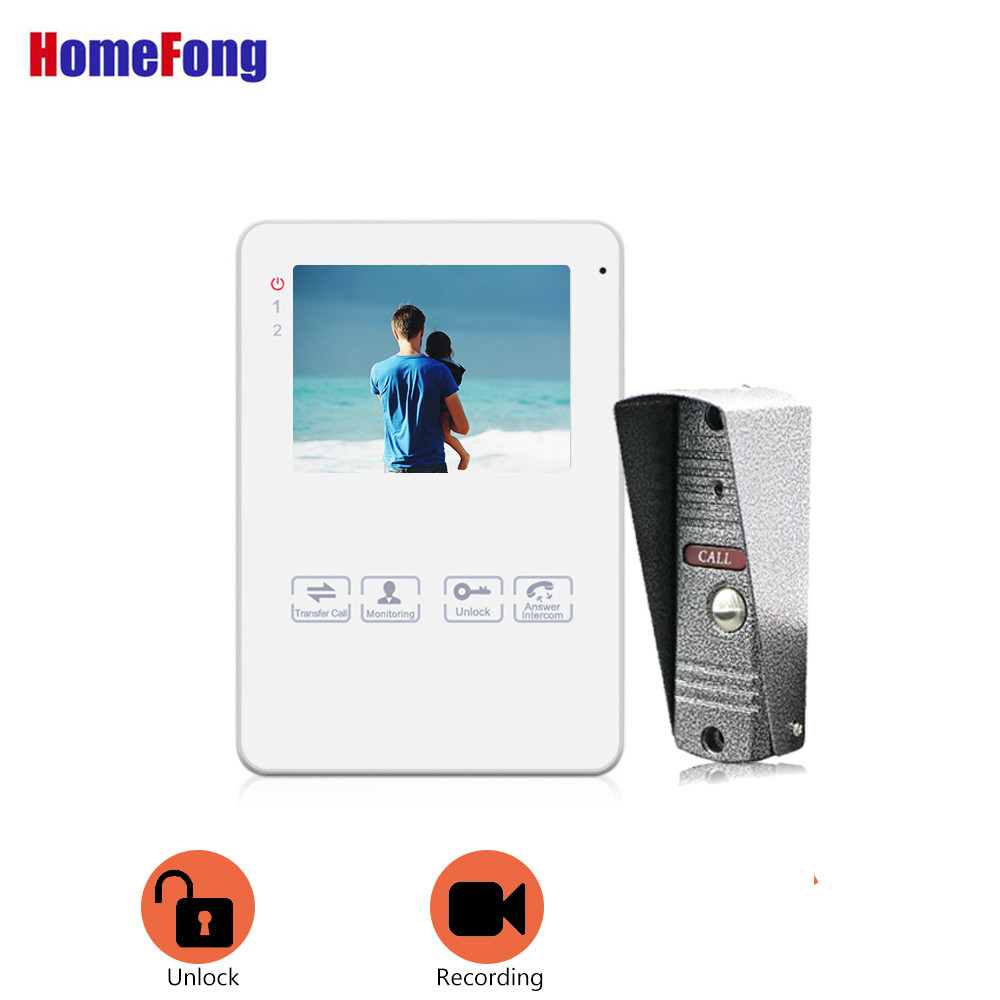 Homefong 4 Inch Video Intercom With Doorbell Camera Door Phone White Color Record Picture Video Day Night Vision Touch Button