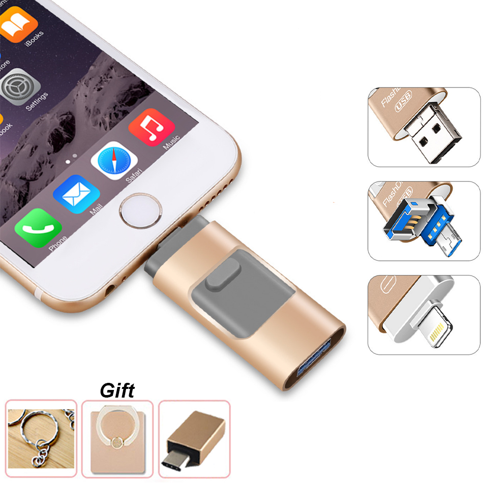 Supersonic 3 In 1 Portable Smart Phone Iphone USB Flash Disk With 8 Pin / Micro USB Plug/USB 128GB 64GB 32GB  Pen Drives