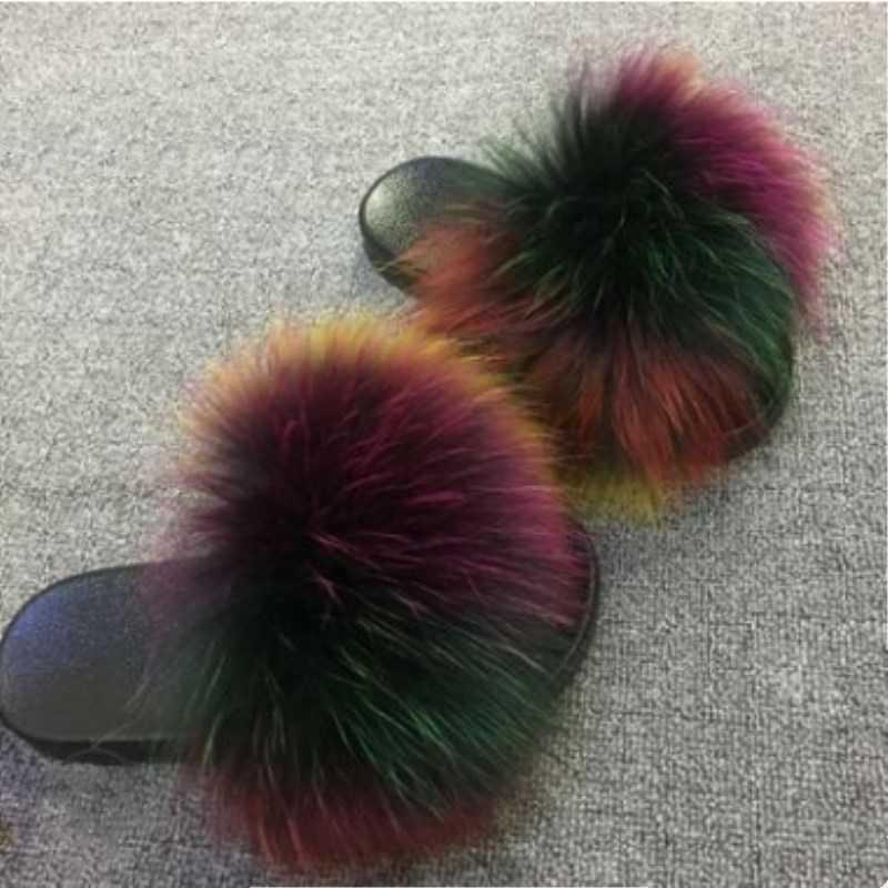 2019 Fox FUR สไลด์สำหรับผู้หญิงตัดรองเท้าแตะรองเท้าแตะ Fluffy Sliders Plush Furry ฤดูร้อนรองเท้าสุภาพสตรีรองเท้าขนาด 36 -45