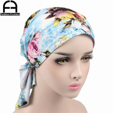 Fashion Women Turban Chemo Hat Print Headwear Headband Headwraps Cancer Hats Muslim Stretch Bandana Hair Accessories