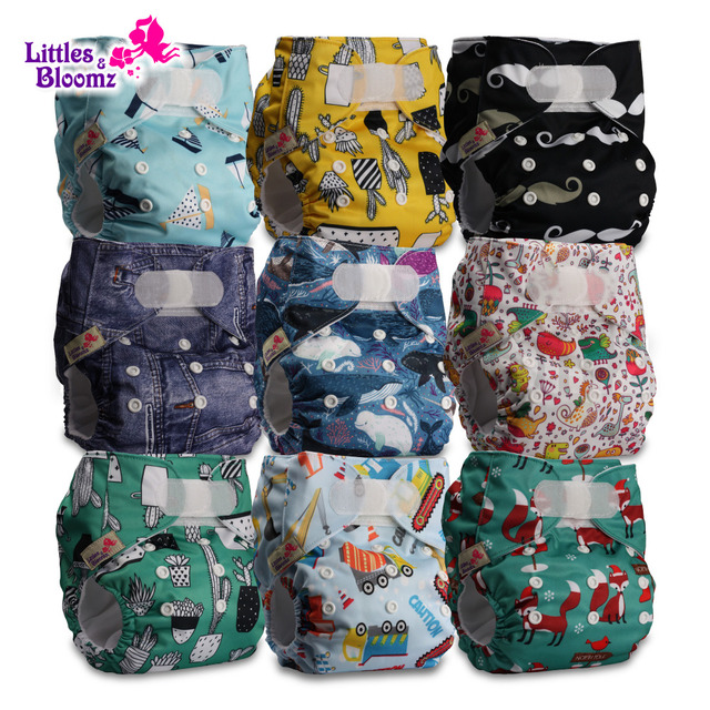 [Littles&Bloomz]9pcs/set STANDARD Hook Loop Reusable Washable Nappy Diaper,9 nappies/diapers and 0 microfiber inserts in one set