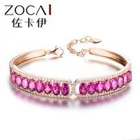 Новое поступление ZOCAI 7.0 КТ CERTIFIED пурпурно красный турмалин 18 К цвета розового золота браслет с 0.89 кт Бриллиантовое турмалин браслет