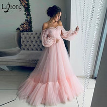 Женское платье с длинным рукавом pretty длинное розовое Тюлевое